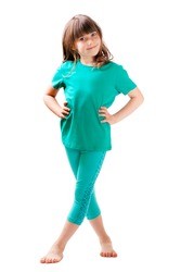 GIRL STANDING ISOLATED ON WHITE BACKGROUND, HEALTHY LIFESTYLE, PHYSICIAN ACTIVITY