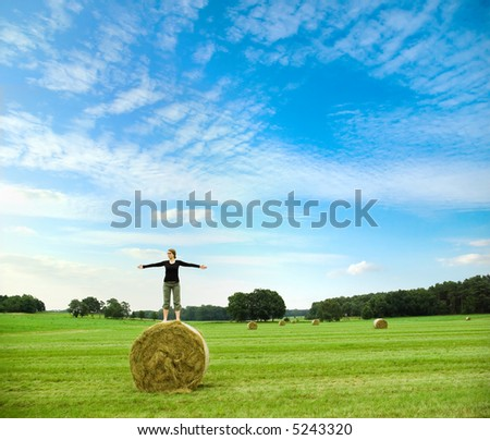 girl standing on hay bale spreading her arms in front of a beautiful landscape with bright blue sky - stock photo