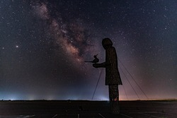 Girl statue and Milky Way in honor of 4.3 in Jeju Island, Korea
