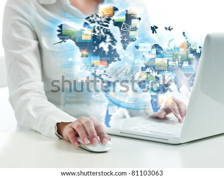 Girl suring on web with modern laptop #81103063