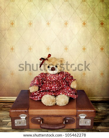 Girl Teddy Bear on a Suitcase  for your Card