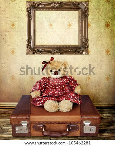 Girl Teddy Bear on a Suitcase with Frame for your Portrait