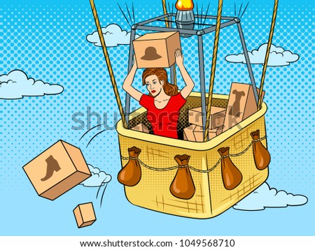 Girl throws out boxes with clothes and shoes from air balloon basket pop art retro raster illustration. Color background. Comic book style imitation.