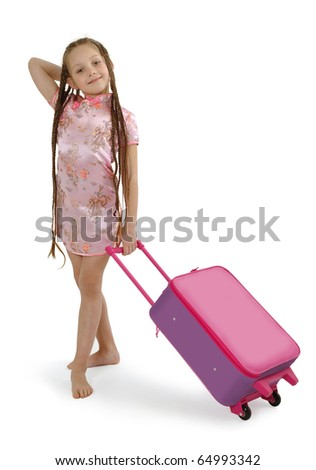 girl tourist with her luggage