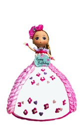 girl toy on the cake and white background