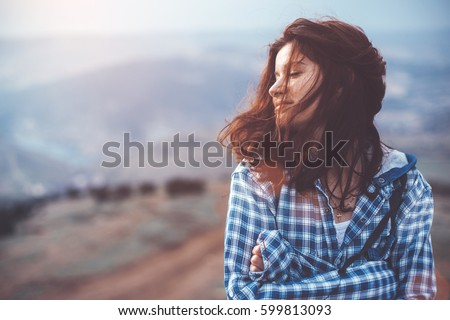 girl travel in mountains alone. ...