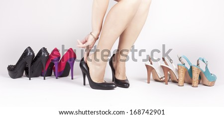 Girl trying on shoes