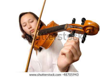 Girl tuning violin isolated silhouette on white background. Half korean half european girl
