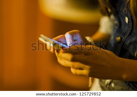 Girl using mobile smart phone