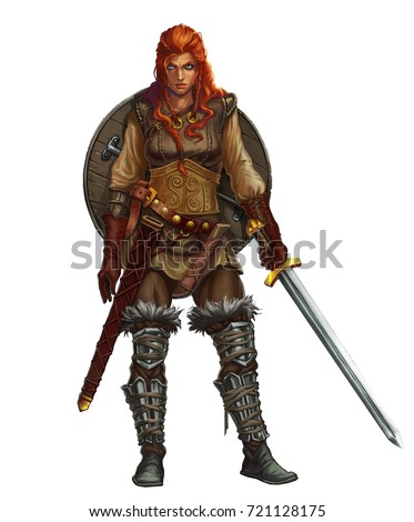 Stock Photo Girl viking fighter with sword and shield and red hair smiling