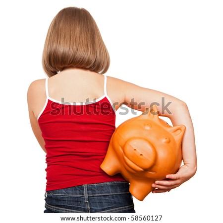 Girl walking away with fat piggy bank, full of money