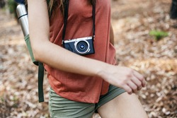 Girl Walking Exploring Outdoors Camera Concept