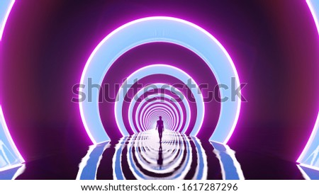 Girl walking on a fantastic road with ring portals. Neon light emit circles. The glossy surface of the path. Violet and blue gamma. Mystical scene. Wet floor. 3d render