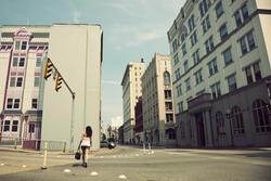 Girl walking streets of Charleston, West Virginia