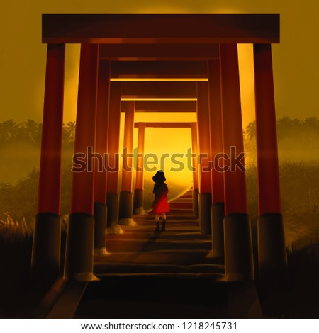 girl walking through famous tunnel lines of orange Torii column against sunset, digital illustration art painting design style.
