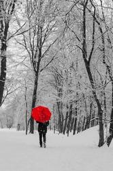 Girl walking through the snowy woods