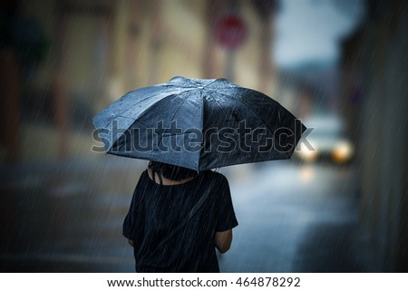 Girl walking with umbrella on rainy day #464878292