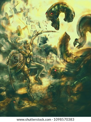Stock Photo Girl warrior with a sword defeats a many-headed monster. Colorful picture in the genre of fantasy.