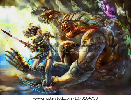 Stock Photo Girl warrior with a sword defeats a monster. Colorful picture in the genre of fantasy.