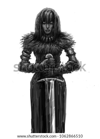 Stock Photo Girl warrior with big sword. Glory knight. Genre of fantasy.