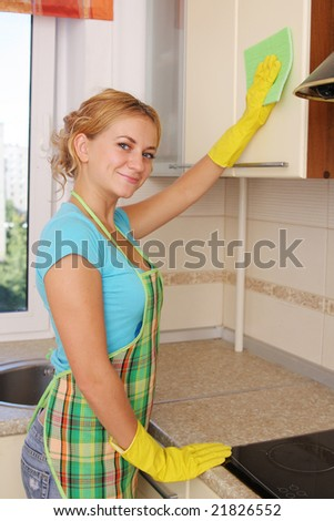 Girl washes kitchen set 2