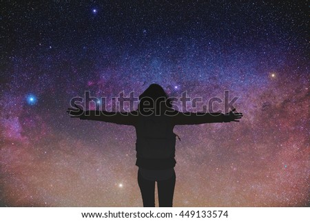 Girl watching the stars. Stars and everything else are my work.