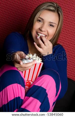 watching tv clipart. stock photo : Girl watching tv