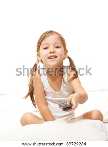 girl watching tv, remote control