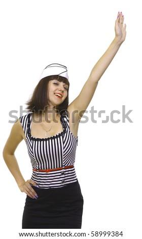 Girl waves hand