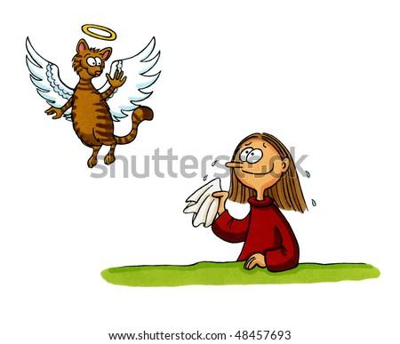 cartoon girl waving goodbye. a happy cartoon toddler girl waving and smiling. Keywords: