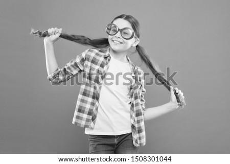 Girl wear eyeglasses. Ultraviolet protection crucial while polarization more preference. Optics and eyesight. Child happy good eyesight. Summer accessory. Eyesight and eye health. Improve eyesight.