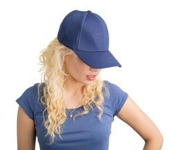 Girl wearing modern snapback