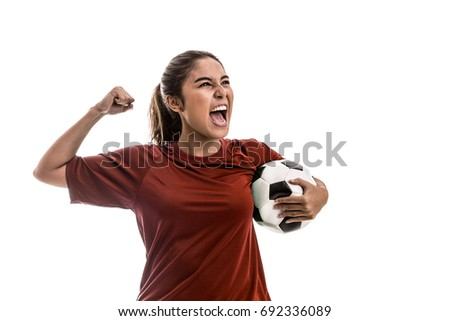 Girl wearing red uniform celebrates on white background #692336089