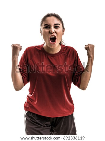Girl wearing red uniform celebrates on white background #692336119