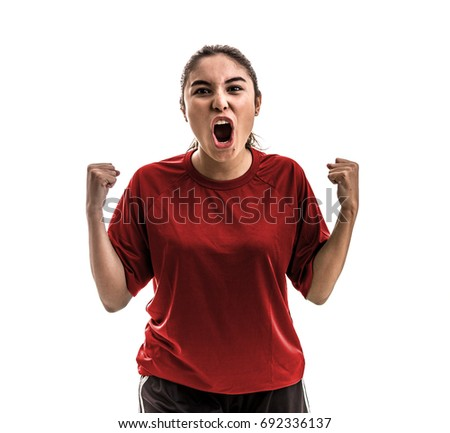 Girl wearing red uniform celebrates on white background #692336137
