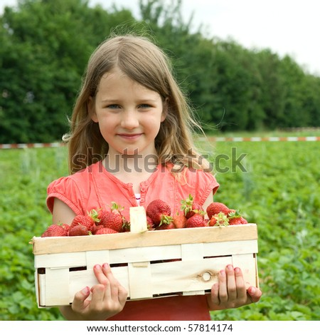 Girl wiht a basket strawberry