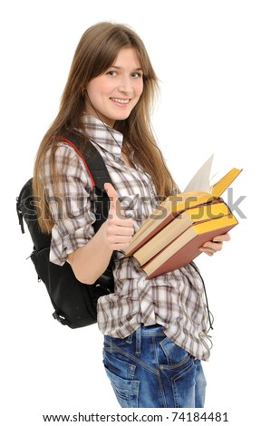 girl with a backpack and the book,exposing greater fingers,