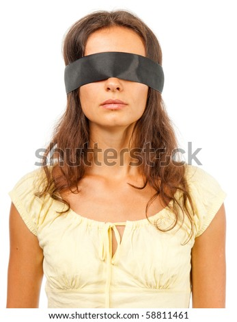 stock photo Girl with a blindfold