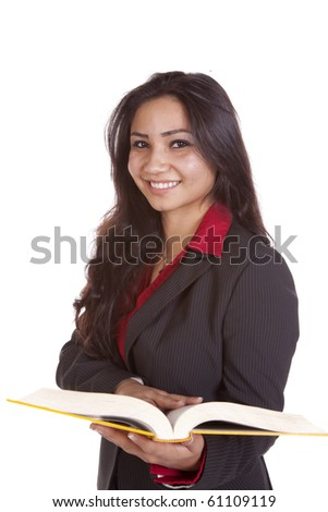 Girl with a book and smiling