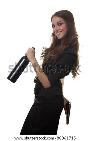 Girl with a bottle of wine and a gun