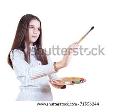 Girl with a brush and palette of paints, white background
