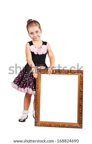 Girl with a frame for the picture.