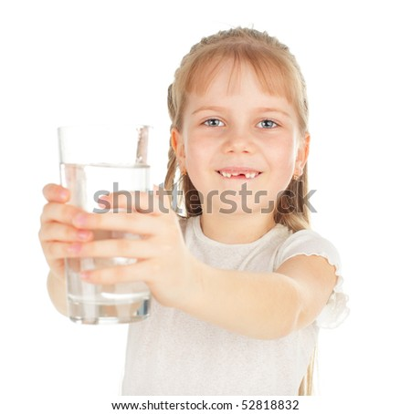 Girl with a glass of pure water