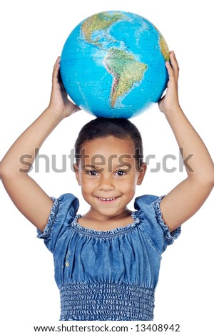 Girl with a globe of the world on her head a over white background