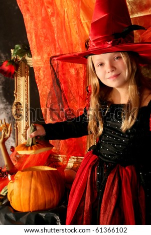 Girl with a Halloween pumpkin