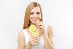 girl with a lemonade on a light background