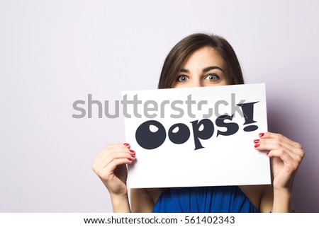 Girl with a Oops! expression drawn on paper Foto stock ©
