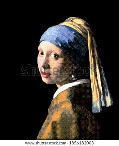 Girl with a Pearl Earring. Redrawing with pixel art style. Foto stock ©