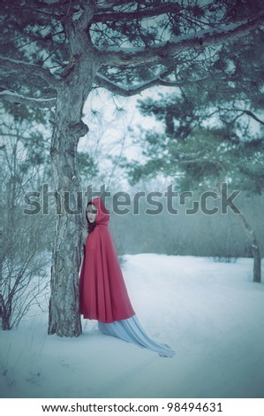 Girl with a red cloak in the terrible forest