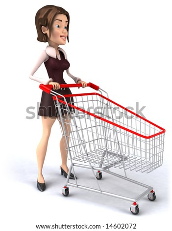 Girl with a shopping cart - stock photo